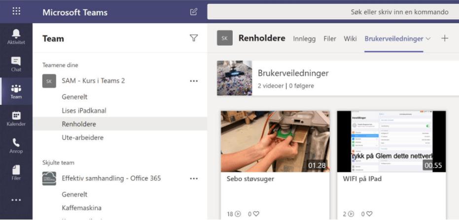 Bilde som viser brukerveiledninger i Teams